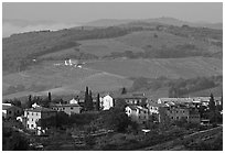 Countryside around the town. San Gimignano, Tuscany, Italy ( black and white)