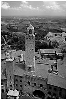 Palazzo Vechchio del Podesta (1239) seen from Torre Grossa. San Gimignano, Tuscany, Italy ( black and white)