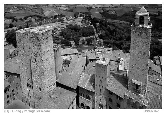Towers seen from Torre Grossa. San Gimignano, Tuscany, Italy (black and white)