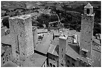 Towers seen from Torre Grossa. San Gimignano, Tuscany, Italy ( black and white)