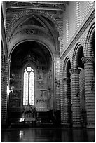 Interior and main nave of Cathedral (Duomo). Orvieto, Umbria (black and white)