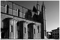 Side view of the Duomo. Orvieto, Umbria (black and white)