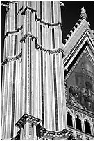 Facade detail of the Cathedral (Duomo). Orvieto, Umbria ( black and white)