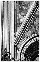 Facade detail of the fresco on Duomo. Orvieto, Umbria ( black and white)