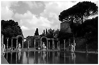 Antique statues along the Canopus, Villa Adriana. Tivoli, Lazio, Italy (black and white)