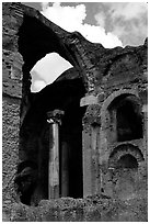Ruins of the Baths, Villa Hadriana. Tivoli, Lazio, Italy (black and white)