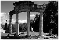 Columns of the small temple of Venus, Villa Hadriana. Tivoli, Lazio, Italy ( black and white)
