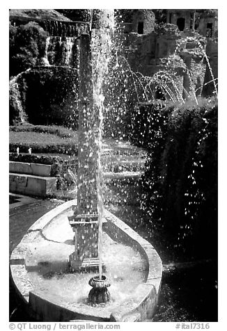 Boat shaped fountain, Villa d'Este. Tivoli, Lazio, Italy (black and white)