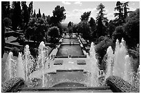 Fountains and pools in  Villa d'Este. Tivoli, Lazio, Italy ( black and white)