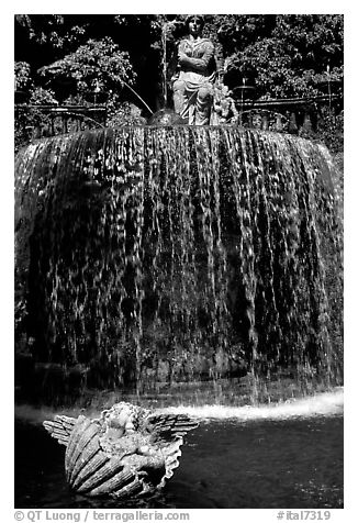 Elaborate fountain in the gardens of Villa d'Este. Tivoli, Lazio, Italy (black and white)