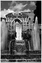 Largest fountain in the gardens of Villa d'Este. Tivoli, Lazio, Italy ( black and white)