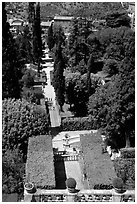 Formal gardens seen from the Villa d'Este. Tivoli, Lazio, Italy (black and white)