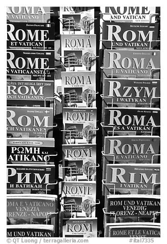 Tourist guides about Rome in all languages. Rome, Lazio, Italy (black and white)