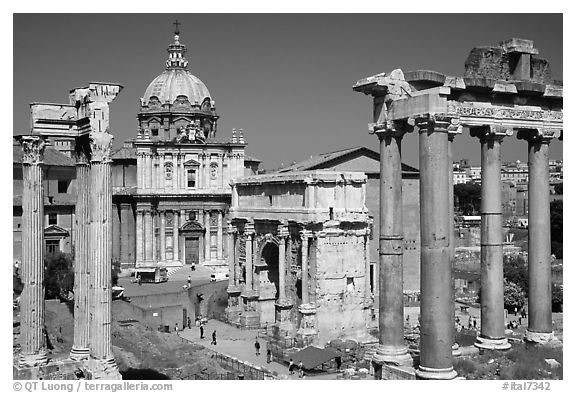 Black and white picture photo west end of the roman forum rome lazio italy