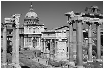 West end of the Roman Forum. Rome, Lazio, Italy ( black and white)