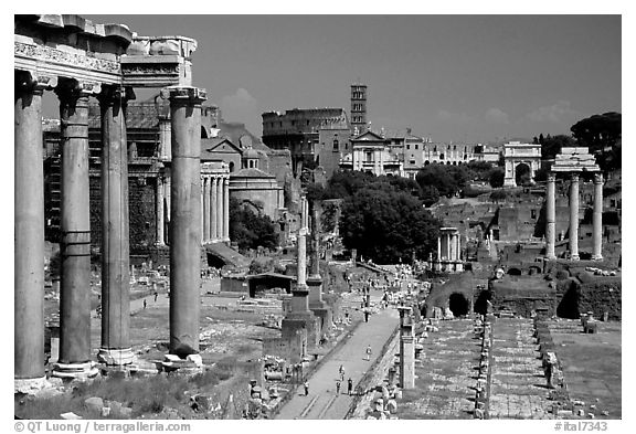 Roman Forum and Colosseum. Rome, Lazio, Italy (black and white)