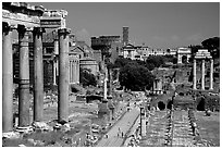 Roman Forum and Colosseum. Rome, Lazio, Italy ( black and white)