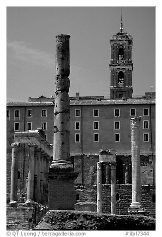 Roman Form and Palazzo Senatorio. Rome, Lazio, Italy (black and white)