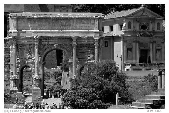 Arch of Septimus Severus, Roman Forum. Rome, Lazio, Italy (black and white)