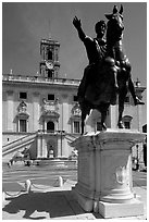 Equestrian status of Marcus Aurelius in front of the Palazzo Senatorio. Rome, Lazio, Italy ( black and white)