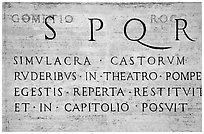 Inscription in Latin with the SPQR letters of the Ancient Roman Empire. Rome, Lazio, Italy (black and white)