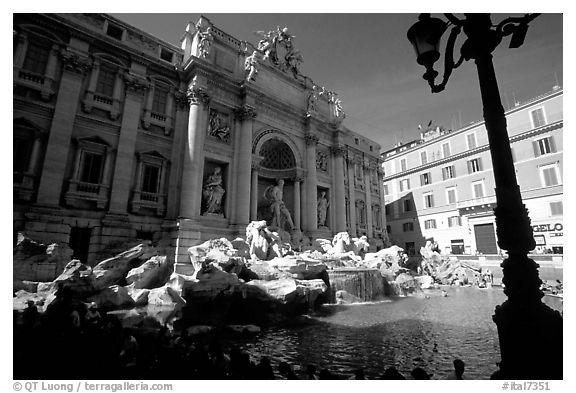 Black and white picture photo trevi fountain rome lazio italy