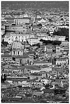 View of the city from Saint Peter's Dome. Rome, Lazio, Italy ( black and white)