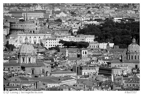 View of the city from Saint Peter's Dome. Rome, Lazio, Italy (black and white)