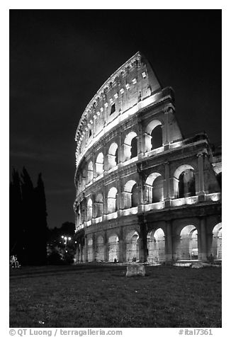 Black and white picture photo colosseum at night rome lazio italy