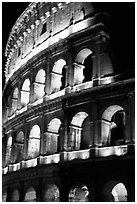 Colosseum illuminated night. Rome, Lazio, Italy (black and white)