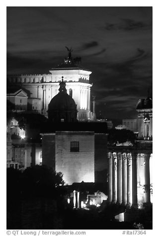 Roman Forum by night. Rome, Lazio, Italy (black and white)