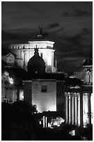 Roman Forum by night. Rome, Lazio, Italy ( black and white)