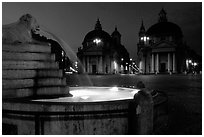 Fountain in Piazza Del Popolo at night. Rome, Lazio, Italy (black and white)