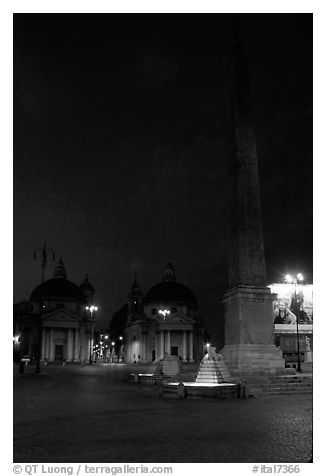 Obelisk in Piazza Del Popolo at night. Rome, Lazio, Italy (black and white)