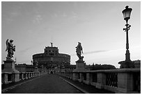 Ponte Sant'Angelo and Castel Sant'Angelo, dawn. Vatican City (black and white)