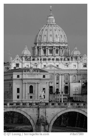 Bridge Sant'Angelo and Basilic Saint Peter, sunrise. Vatican City (black and white)