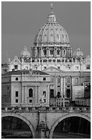 Bridge Sant'Angelo and Basilic Saint Peter, sunrise. Vatican City ( black and white)