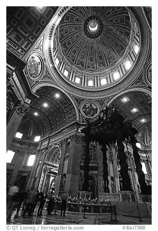 Baldachino, Bernini's baroque canopy stands above St Peter's tomb. Vatican City