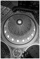 Dome of Basilica San Pietro, designed by Michelangelo. Vatican City ( black and white)