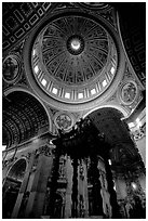 Baldachino, and Dome of Basilic Saint Peter. Vatican City ( black and white)