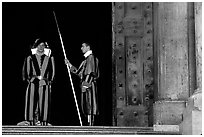 Swiss guards on sentry duty. Vatican City (black and white)