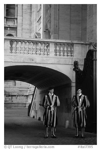 Members of Pontifical Swiss Guard. Vatican City (black and white)