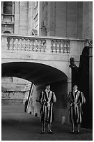 Members of Pontifical Swiss Guard. Vatican City ( black and white)