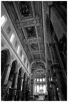Nave of the Duomo. Naples, Campania, Italy ( black and white)