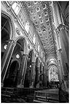 Interior of Chiesa di Sant' Angelo a Nilo. Naples, Campania, Italy (black and white)