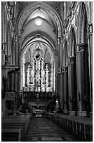Organ inside church. Naples, Campania, Italy ( black and white)