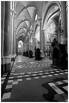 Church side aisle. Naples, Campania, Italy ( black and white)
