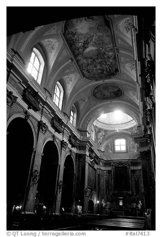 Church interior. Naples, Campania, Italy (black and white)