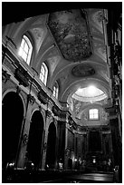 Church interior. Naples, Campania, Italy ( black and white)