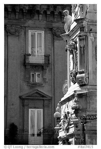 Base of Guglia in Piazza San Domenico Maggiore. Naples, Campania, Italy (black and white)